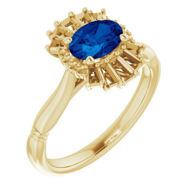 Genuine Sapphire Ring in 14 Karat Yellow Gold Genuine Sapphire & 1/4 Carat Diamond Ring