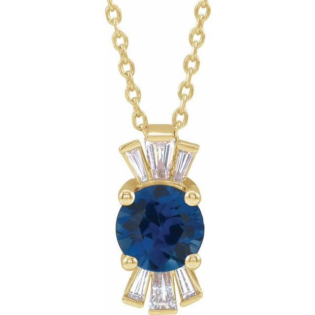Genuine Sapphire Necklace in 14 Karat Yellow Gold Genuine Sapphire & 1/6 Carat Diamond 16-18