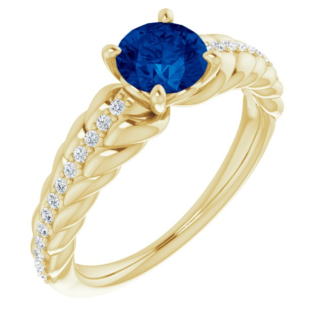 Genuine Sapphire Ring in 14 Karat Yellow Gold Genuine Sapphire & 1/8 Carat Diamond Ring
