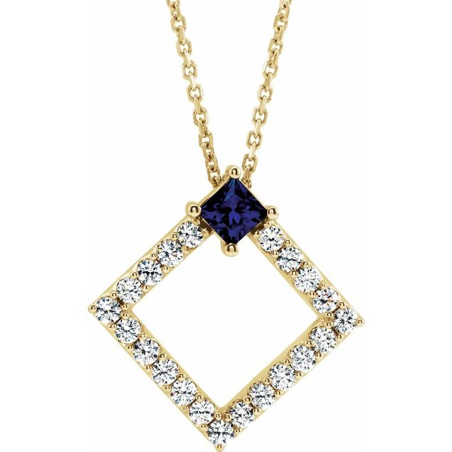 Genuine Sapphire Necklace in 14 Karat Yellow Gold Genuine Sapphire & 3/8 Carat Diamond 16-18