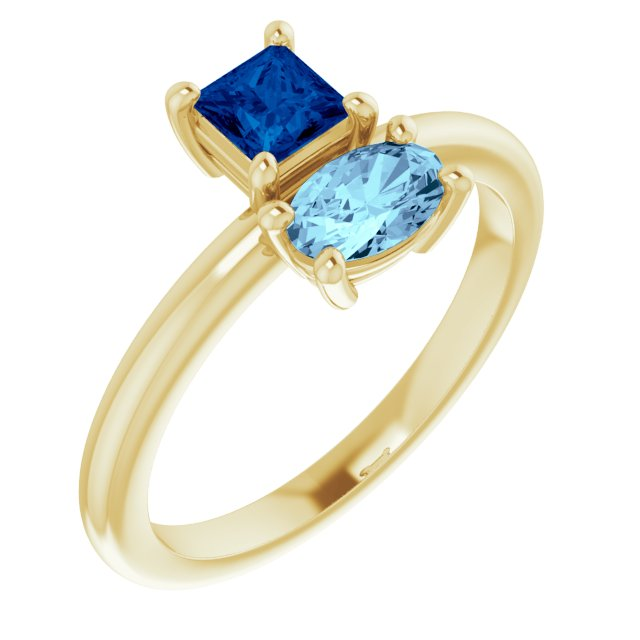 Genuine Sapphire Ring in 14 Karat Yellow Gold Genuine Sapphire & Aquamarine Ring
