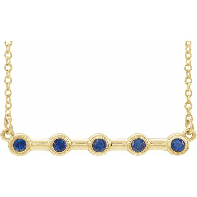 Genuine Sapphire Necklace in 14 Karat Yellow Gold Genuine Sapphire Bezel-Set 16