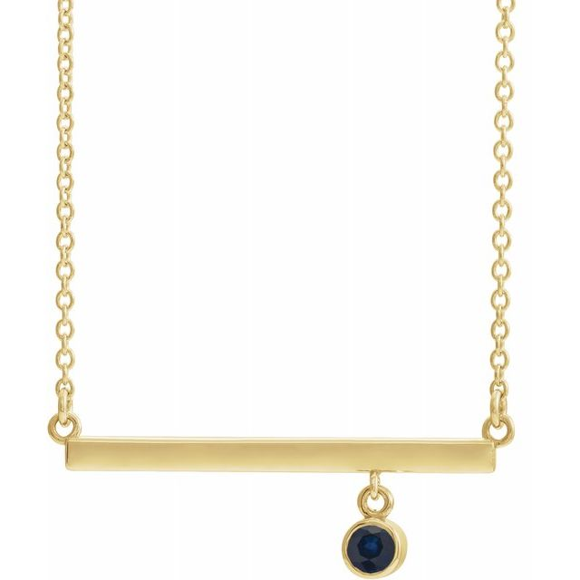Genuine Sapphire Necklace in 14 Karat Yellow Gold Genuine Sapphire Bezel-Set 18