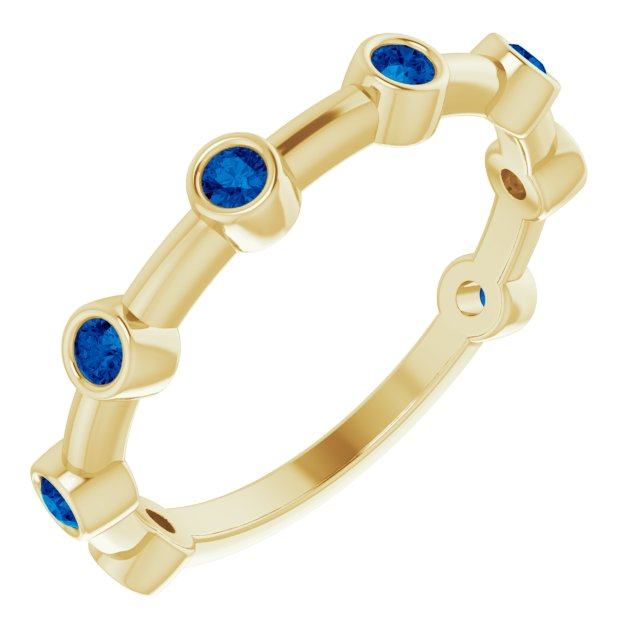 Genuine Sapphire Ring in 14 Karat Yellow Gold Genuine Sapphire Bezel-Set Bar Ring