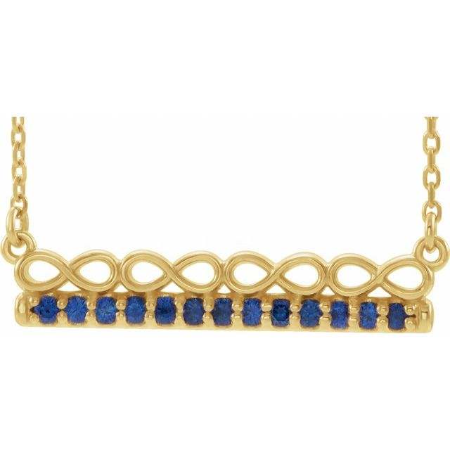 Genuine Sapphire Necklace in 14 Karat Yellow Gold Genuine Sapphire Infinity-Inspired Bar 16