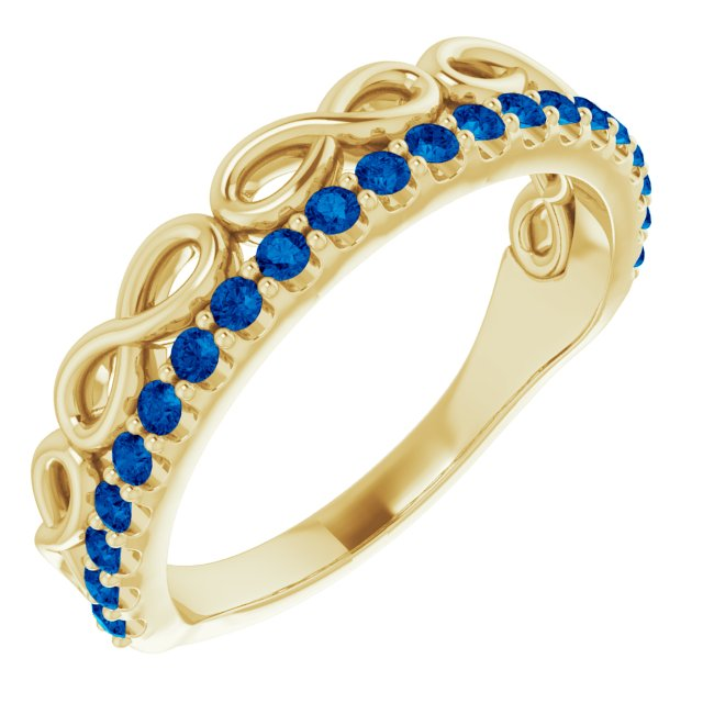 Genuine Sapphire Ring in 14 Karat Yellow Gold Genuine Sapphire Infinity-Inspired Stackable Ring