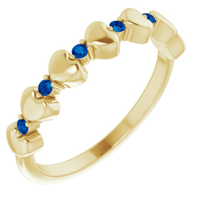 Genuine Sapphire Ring in 14 Karat Yellow Gold Genuine Sapphire Stackable Heart Ring
