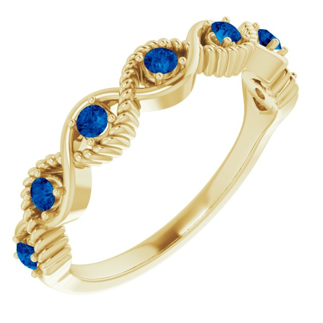 Genuine Sapphire Ring in 14 Karat Yellow Gold Genuine Sapphire Stackable Ring