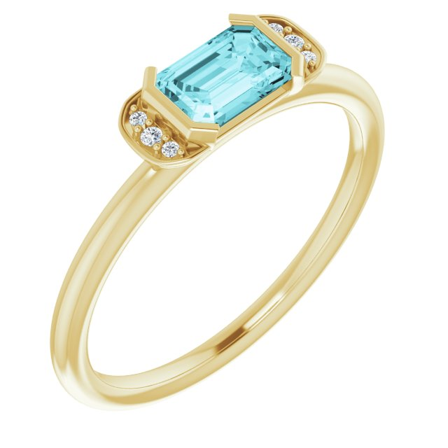 Genuine Zircon Ring in 14 Karat Yellow Gold Genuine Zircon & .02 Carat Diamond Stackable Ring