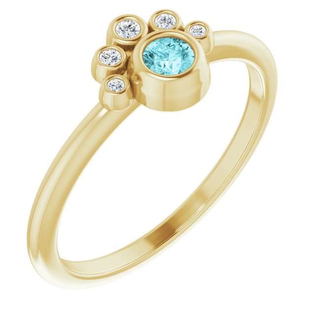 Genuine Zircon Ring in 14 Karat Yellow Gold Genuine Zircon & .04 Carat Diamond Ring