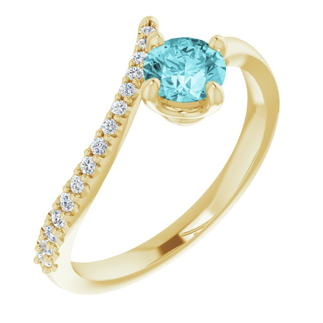 Genuine Zircon Ring in 14 Karat Yellow Gold Genuine Zircon & 1/10 Carat Diamond Bypass Ring