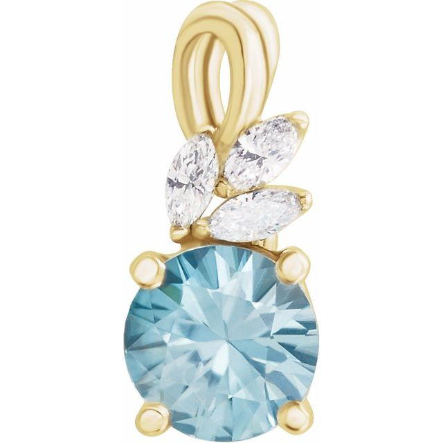 Genuine Zircon Pendant in 14 Karat Yellow Gold Genuine Zircon & 1/10 Carat Diamond Pendant
