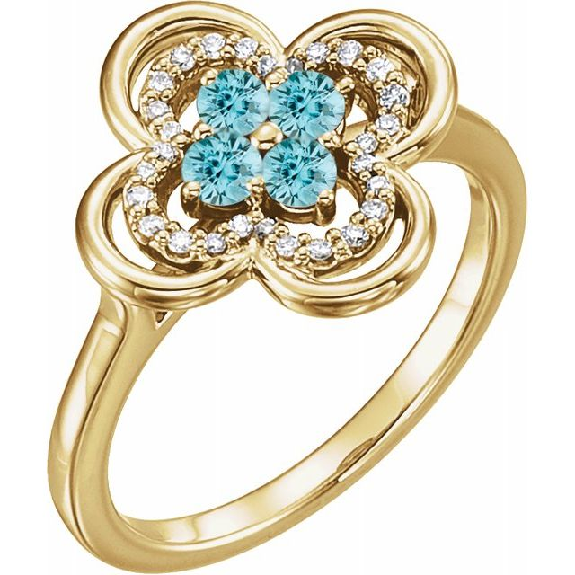 Genuine Zircon Ring in 14 Karat Yellow Gold Genuine Zircon & 1/10 Carat Diamond Ring