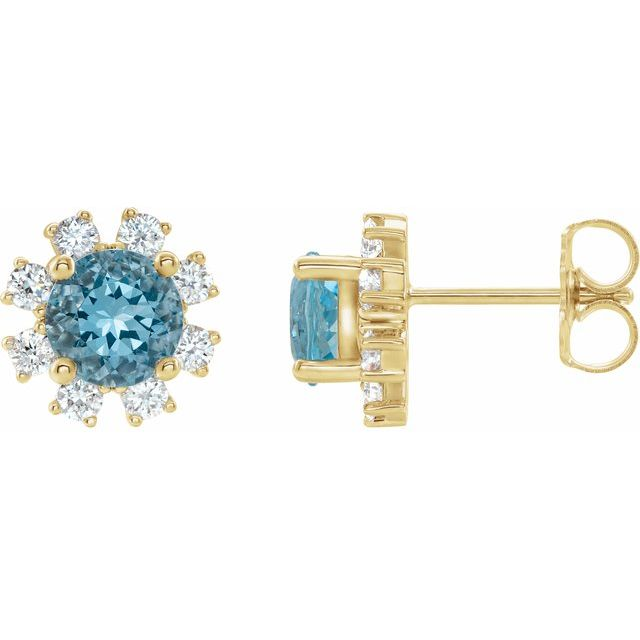 Genuine Zircon Earrings in 14 Karat Yellow Gold Genuine Zircon & 1/2 Carat Diamond Earrings