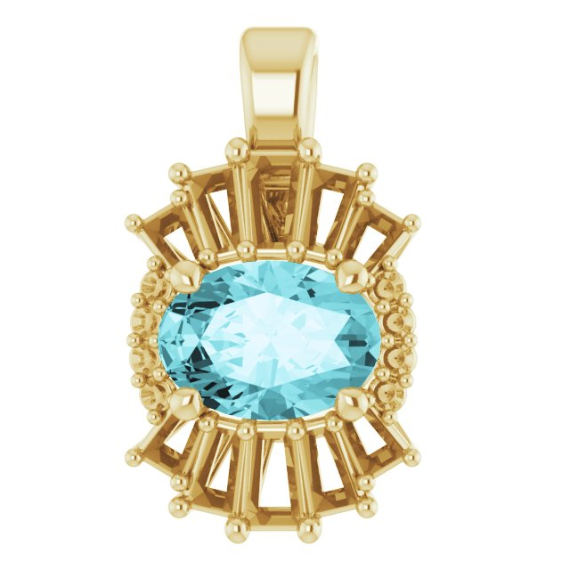 Genuine Zircon Pendant in 14 Karat Yellow Gold Genuine Zircon & 1/3 Carat Diamond Pendant
