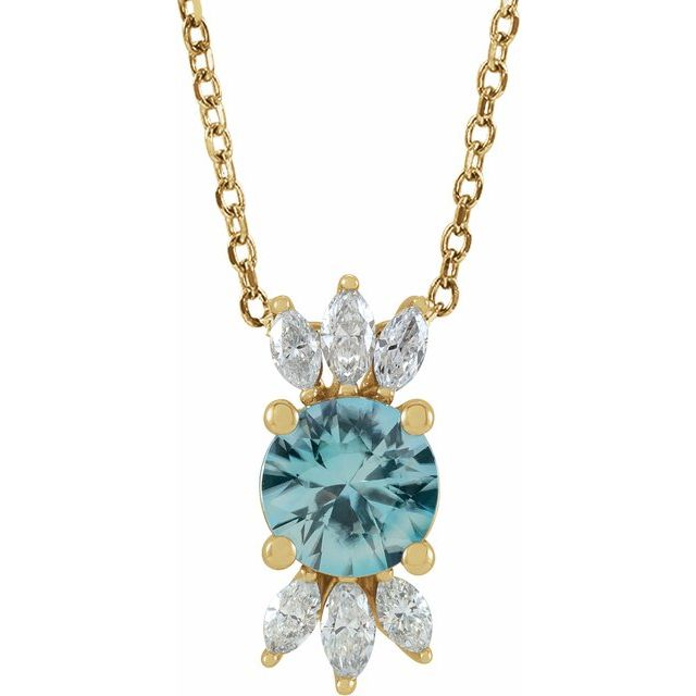 Genuine Zircon Necklace in 14 Karat Yellow Gold Genuine Zircon & 1/4 Carat Diamond 16-18