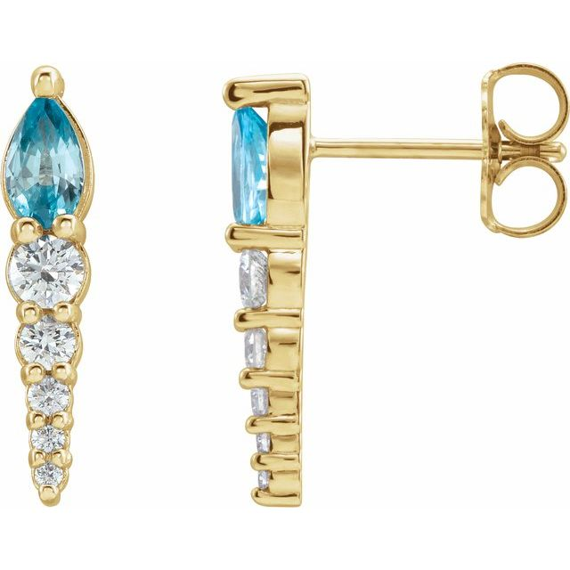 Genuine Zircon Earrings in 14 Karat Yellow Gold Genuine Zircon & 1/4 Carat Diamond Earrings