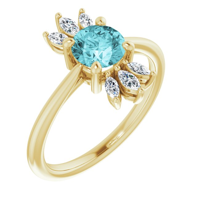 Genuine Zircon Ring in 14 Karat Yellow Gold Genuine Zircon & 1/4 Carat Diamond Ring