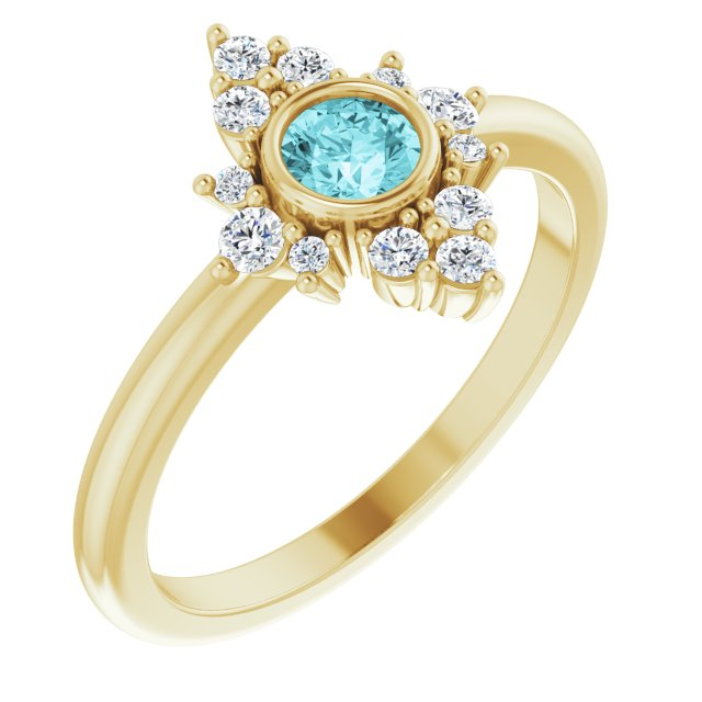 Genuine Zircon Ring in 14 Karat Yellow Gold Genuine Zircon & 1/5 Carat Diamond Ring