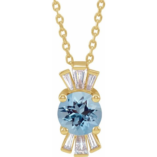 Genuine Zircon Necklace in 14 Karat Yellow Gold Genuine Zircon & 1/6 Carat Diamond 16-18