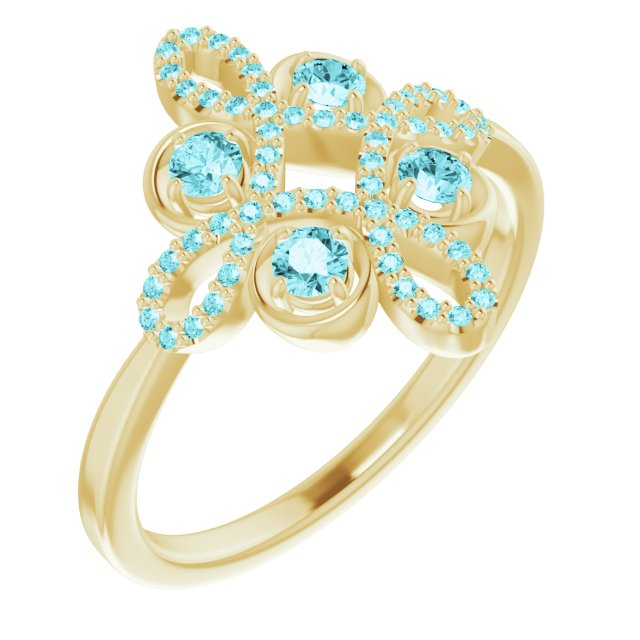 Genuine Zircon Ring in 14 Karat Yellow Gold Genuine Zircon & 1/6 Carat Diamond Clover Ring