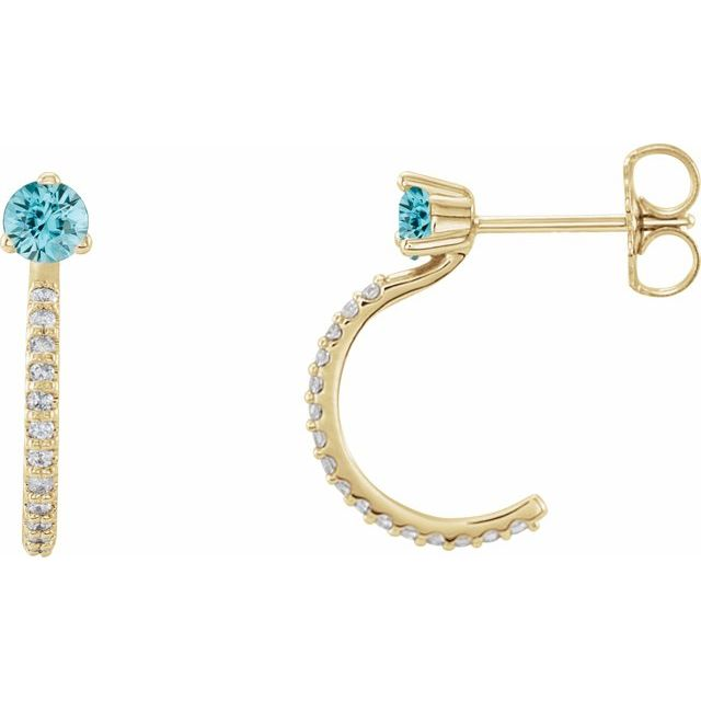 Genuine Zircon Earrings in 14 Karat Yellow Gold Genuine Zircon & 1/6 Carat Diamond Hoop Earrings