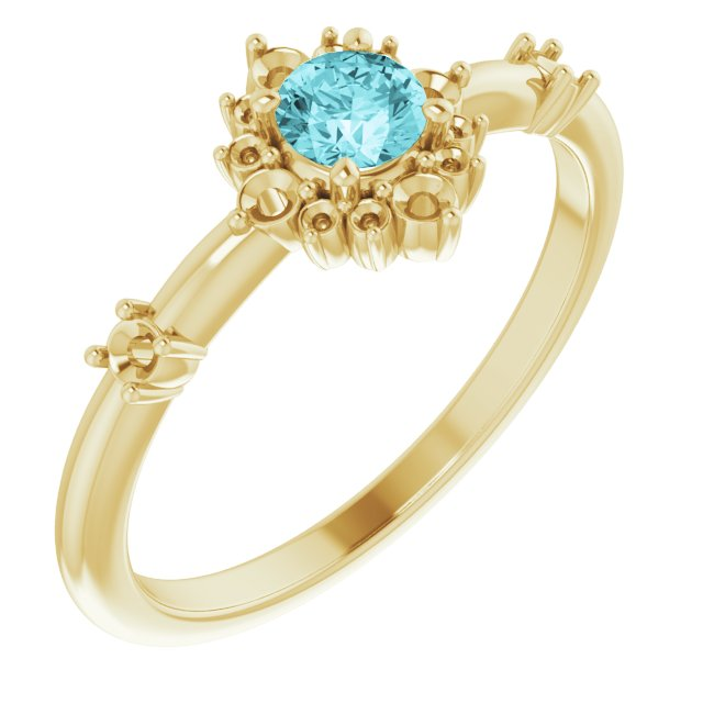 Genuine Zircon Ring in 14 Karat Yellow Gold Genuine Zircon & 1/6 Carat Diamond Ring