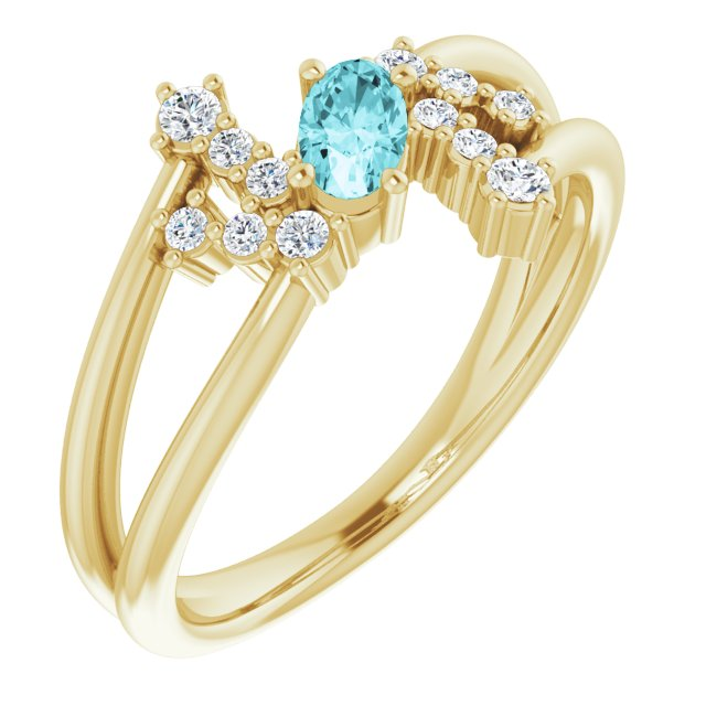 Genuine Zircon Ring in 14 Karat Yellow Gold Genuine Zircon & 1/8 Carat Diamond Bypass Ring