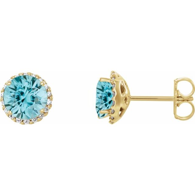 Genuine Zircon Earrings in 14 Karat Yellow Gold Genuine Zircon & 1/8 Carat Diamond Earrings