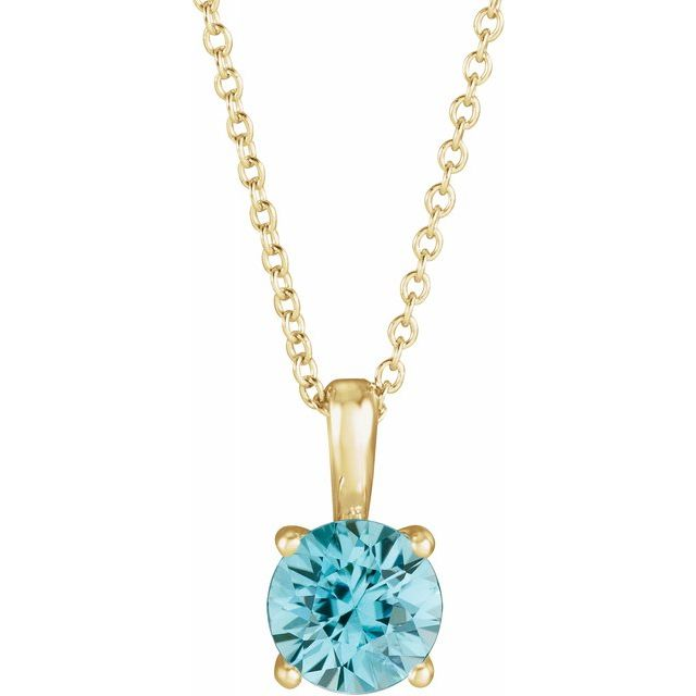 Genuine Zircon Necklace in 14 Karat Yellow Gold Genuine Zircon 16-18