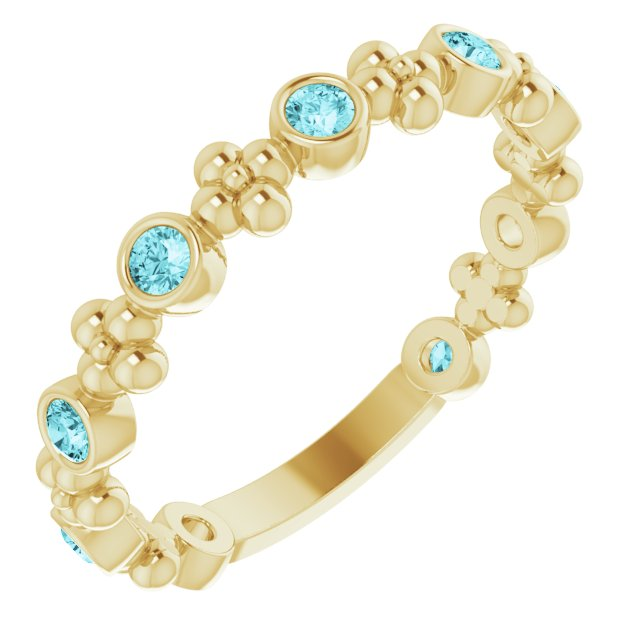 Genuine Zircon Ring in 14 Karat Yellow Gold Genuine Zircon Beaded Ring