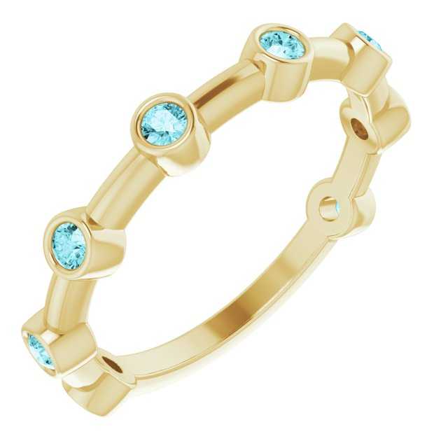 Genuine Zircon Ring in 14 Karat Yellow Gold Genuine Zircon Bezel-Set Bar Ring