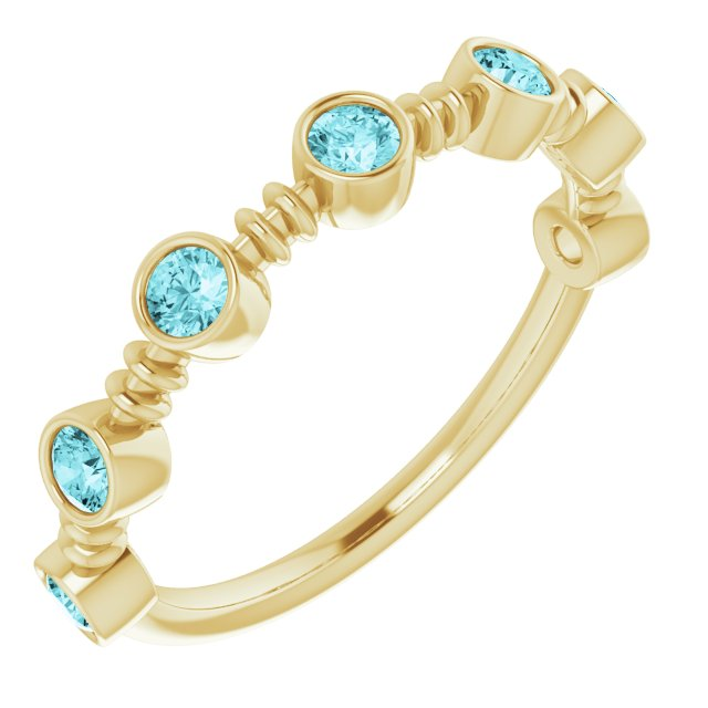 Genuine Zircon Ring in 14 Karat Yellow Gold Genuine Zircon Bezel-Set Ring