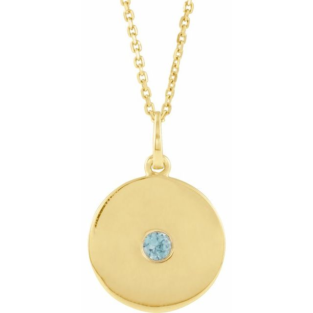 Genuine Zircon Necklace in 14 Karat Yellow Gold Genuine Zircon Disc 16-18