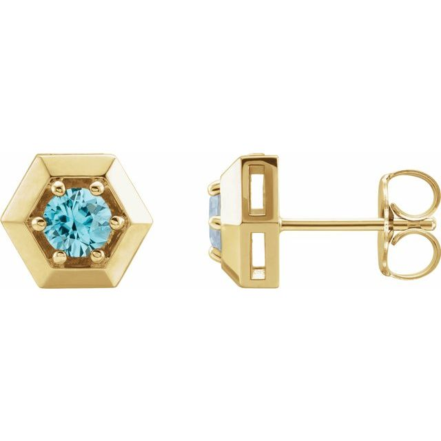 Genuine Zircon Earrings in 14 Karat Yellow Gold Genuine Zircon Geometric Earrings