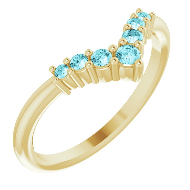 Genuine Zircon Ring in 14 Karat Yellow Gold Genuine Zircon Graduated