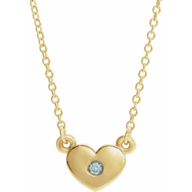 Genuine Zircon Necklace in 14 Karat Yellow Gold Genuine Zircon Heart 16