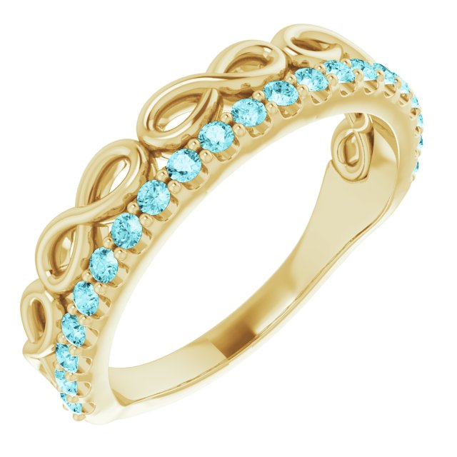 Genuine Zircon Ring in 14 Karat Yellow Gold Genuine Zircon Infinity-Inspired Stackable Ring