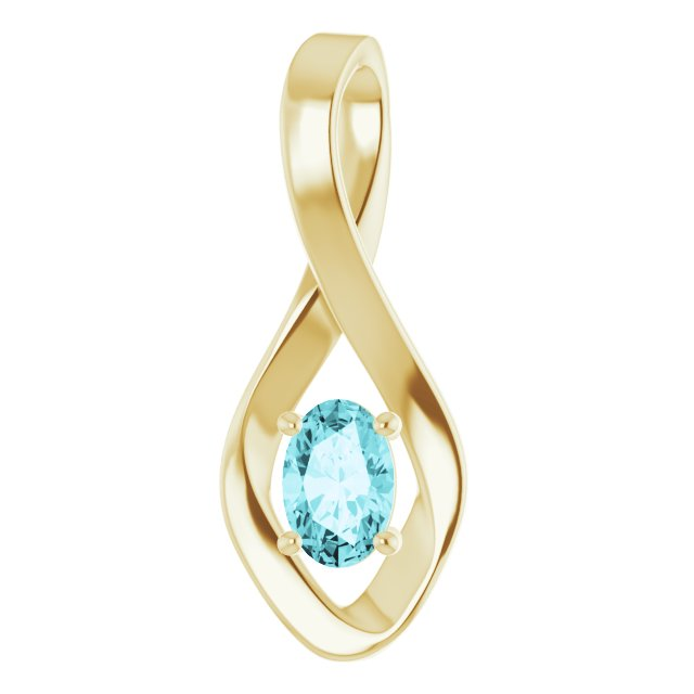 Genuine Zircon Pendant in 14 Karat Yellow Gold Genuine Zircon Pendant