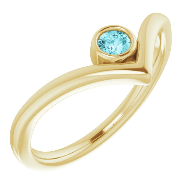 Genuine Zircon Ring in 14 Karat Yellow Gold Genuine Zircon Solitaire Bezel-Set