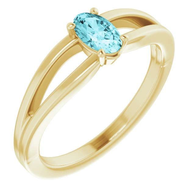 Genuine Zircon Ring in 14 Karat Yellow Gold Genuine Zircon Solitaire Youth Ring