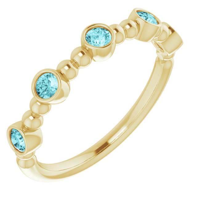 Genuine Zircon Ring in 14 Karat Yellow Gold Genuine Zircon Stackable Beaded Ring
