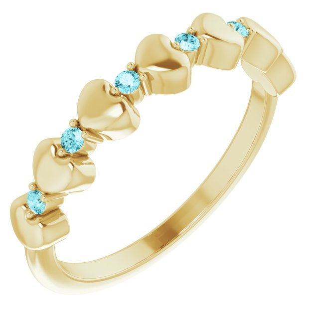 Genuine Zircon Ring in 14 Karat Yellow Gold Genuine Zircon Stackable Heart Ring