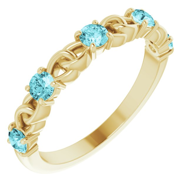 Genuine Zircon Ring in 14 Karat Yellow Gold Genuine Zircon Stackable Link Ring
