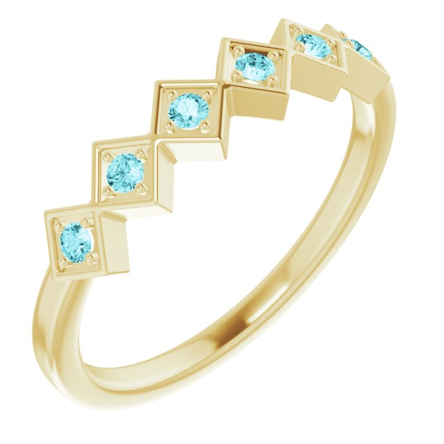 Genuine Zircon Ring in 14 Karat Yellow Gold Genuine Zircon Stackable Ring