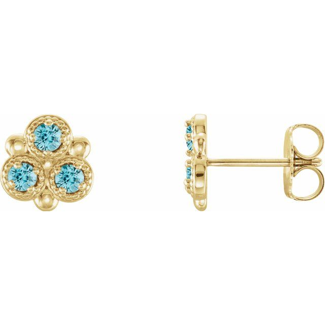 Genuine Zircon Earrings in 14 Karat Yellow Gold Genuine Zircon Three-Stone Earrings