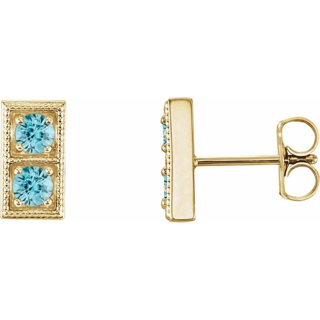 Genuine Zircon Earrings in 14 Karat Yellow Gold Genuine ZirconTwo-Stone Earrings