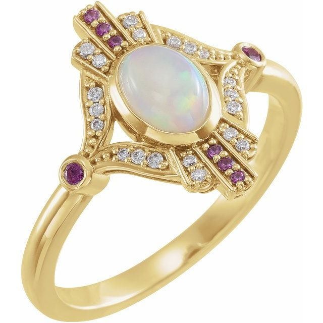 Natural Opal Ring in 14 Karat Yellow Gold Cabochon Ethiopian Opal, Pink Sapphire & .06 Carat Diamond Ring