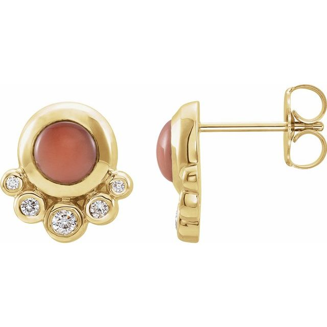 Pink Coral Earrings in 14 Karat Yellow Gold Cabochon Pink Coral & 1/8 Carat Diamond Earrings