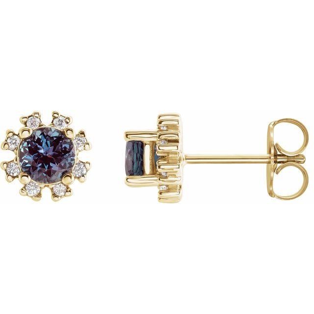 Genuine Alexandrite Earrings in 14 Karat Yellow Gold Chatham Created Alexandrite & .07 Carat Diamond Earrings